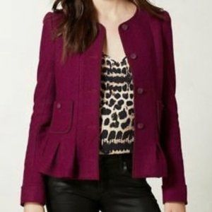 Elevenses Anthro Red Raspberry Wool Jacket